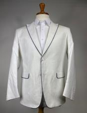 Mens White and Black Trim Linen