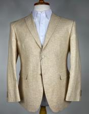 Mens Cream Single Breasted Peak Lapel