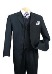 Solid Black Wool Suit for Funeral