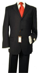 Funeral Suit Three Button Front Black