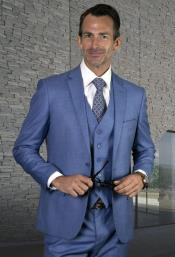 Steel Blue Ultra Slim Fit Prom Suit - Dusty