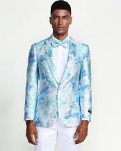 Aqua Floral Tuxedo Jacket Slim Fit