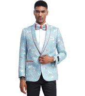 Blue Tuxedo Jacket Pattern with Red Trim Shawl Lapel