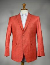 - Coral - Burn Orange Mens Colorful Summer Linen