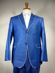 Blue Mens Colorful Summer Linen Suit (Jacket) - Pastel