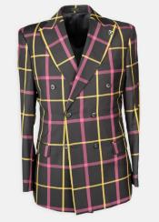 Lapel Windowpane Double Breasted Affordable Cheap Priced Mens Dress