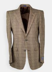 Mens Brown Windowpane houndstooth Blazer -