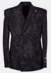 Mens Black Paisley Pattern Double Dreasted