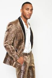 Coffee Animal Print Suit  Jacket and Pant
