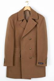 Breasted Solid Wool Blend Overcoat