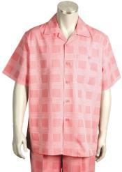Squares Short Sleeve 2pc Walking Suit Set - Pink