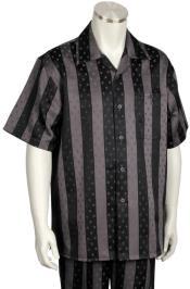 Stripes Short Sleeve 2pc Walking Suit Set - Grey/Black