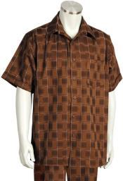 Stitch Grids Short Sleeve 2pc Walking Suit Set -