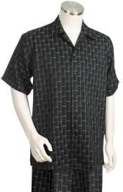 Stripes Short Sleeve 2pc Walking Suit Set - Black