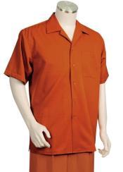 Textured Short Sleeve 2pc Walking Suit Set - Burnt