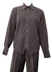 Vest Cut Long Sleeve 2pc Walking Suit Set -