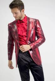 Single Breasted Peak Lapel Red Snake