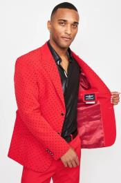 Single Breasted Peak Lapel Marvel - Red