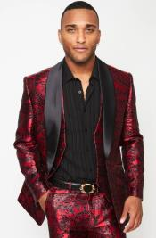 Single Breasted Shawl Lapel Three Pointer - Red Suit