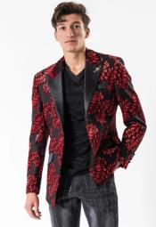 Single Breasted Peak Lapel Red Suit