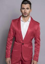 Single Breasted Peak Lapel Red Slim Fit Suit