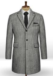 Mens Topcoat Big Houndstooth BW Tweed