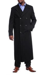 Black Diamond Solid Black Wool Double Breasted Gabardine Trench