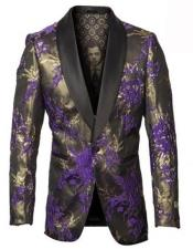 and Gold Tuxedo Jacket with Fancy Pattern Shawl Lapel