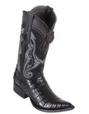 Los Altos Boots Caiman Belly Black