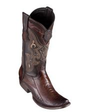 Altos Mens Ostrich Leg Faded Brown Cowboy Boots -