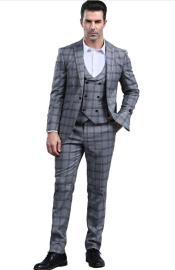 Grey Slim Fitted Tapered Plaid - Window Pane Patterned