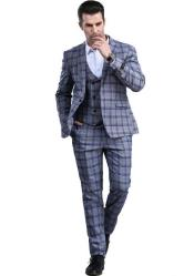 Slim Fitted Tapered Window Pane Patterned Suit
