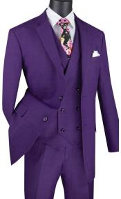Purple Mens Single Breasted 2 Button
