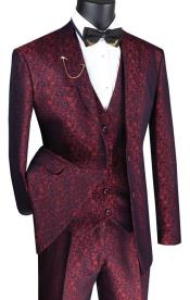 Paisley Floral Suit Ruby- Mens Flower