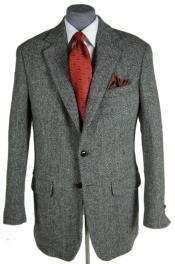 Tweed Sport Coat Grey Herringbone
