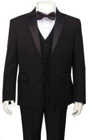 Boys Boys Husky Suit Tuxedo Black