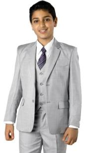 Two Button Notch Lapel Husky Fit Suit MGrey