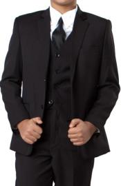 Two Button Notch Lapel Husky Fit Suit With V-Neck
