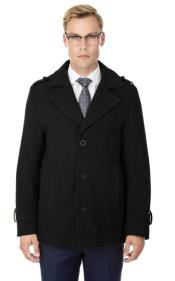 Mens Short Length Coat Wool Fabric