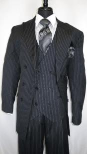 Mens Double Breasted Peak Lapel Suit