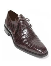 Mezlan Mens Crocodile Brown Anderson Lace-Up