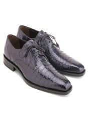 Mezlan Mens Blue Genuine Crocodile Lace-Up