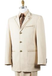 - Beige - Tan Fashion Tuxedo - Wedding Suit
