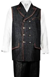 Denim Mens Double Breasted Vest +
