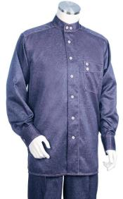 Banded Collar Less Mandarin Shirts -