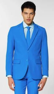 MensTwoButtonElectricBluePolyesterSuit
