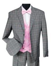 Mens Black and Pink Plaid Suit