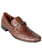 Mens Brown Genuine Ostrich Slip On