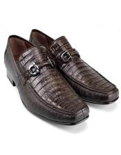 MensBrownGenuineCaimanBellyandLizardStylishDressLoafer