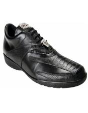 Sneaker Bene Black Geniune Ostrich and Soft Calfskin